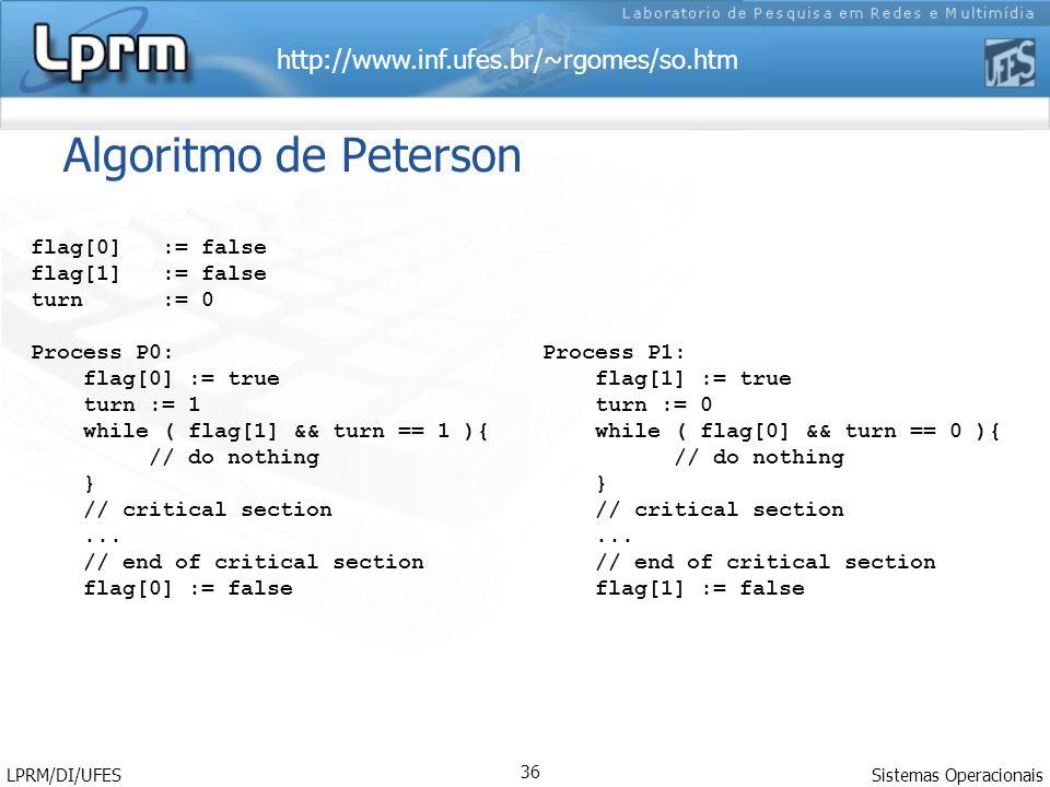 Algoritmo de Peterson flag[0] := false flag[1] := false turn := 0